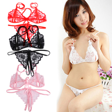 Hot sale sexy Chic Women Lace Open Bra Crotchless Thong G string T back Lingerie Set