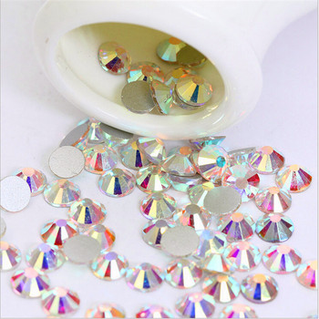 Sale! Super Shiny SS3-ss40 Bag Clear Crystal AB color 3D Non HotFix FlatBack Nail Art Decorations Flatback Rhinestones