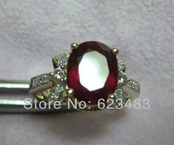 Solid 14KT Yellow Gold Natural Red Blood Ruby Engagament Ring Free shipping Custom design Jewelry