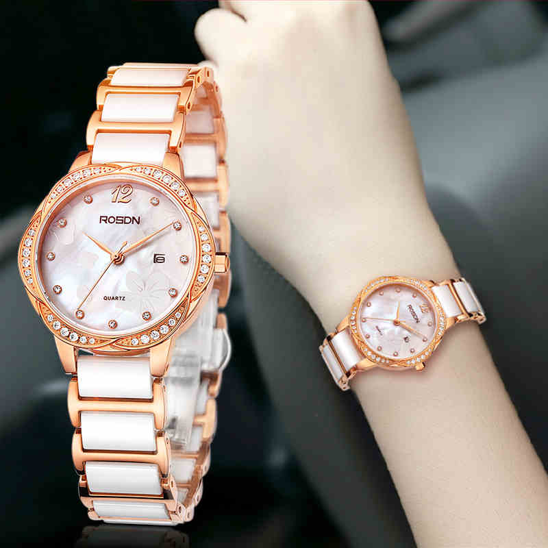 ROSDN 2016 New Watch Women Brand Luxury Fashion Casual Quartz Ceramic Watches Lady Relojes Mujer Women Wristwatches Girl Dress(China (Mainland))