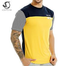 2016 sommer SUNNY FUTURE Brand Mode Männer T-shirt Baumwolle Kurzarm Casual T-Shirt striped herrenbekleidung swag tops tees(China (Mainland))