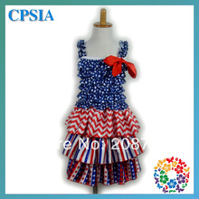 Blue white star red chevron Princess Party Dress Satin Ruffle Dresses 4th july Children 2 - Yiwu City Yihon E-Commerce Firm store