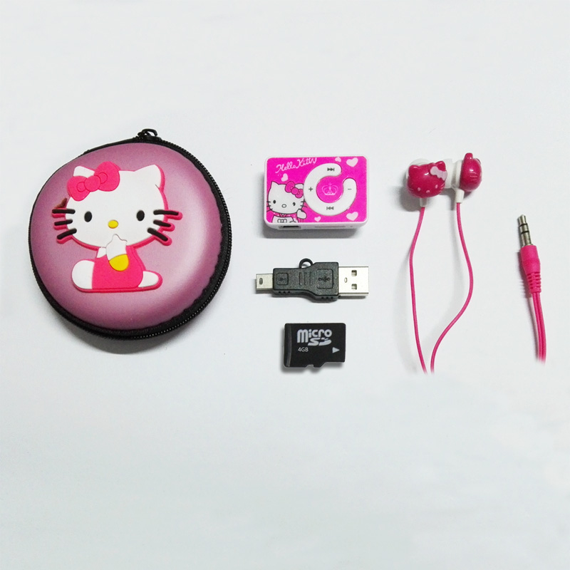 New Cartoon Hello Kitty MP3 Player Portable Clip MP3 Music Player Provide 4GB TF Card & Stereo Earphone & Box & Mini USB Cable(China (Mainland))