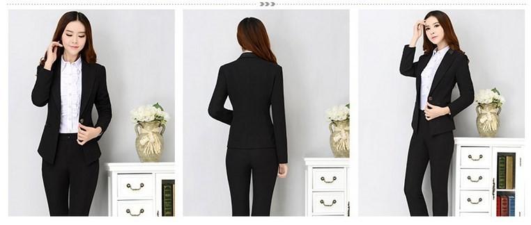 Office Uniform Designs Women Two Piece Pants Suits Work Womens Business Suits Set Female Formal Suits With Pants Black S-XXXL