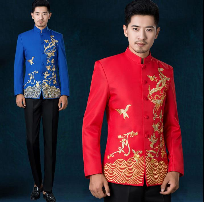 Black white red blue stand collar embroidery chinese tunic suit set men suit latest coat pant designs mens suits with pants suit