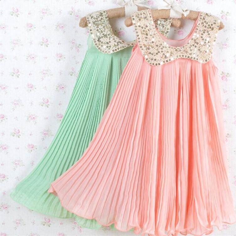 summer girls sequined collar dress