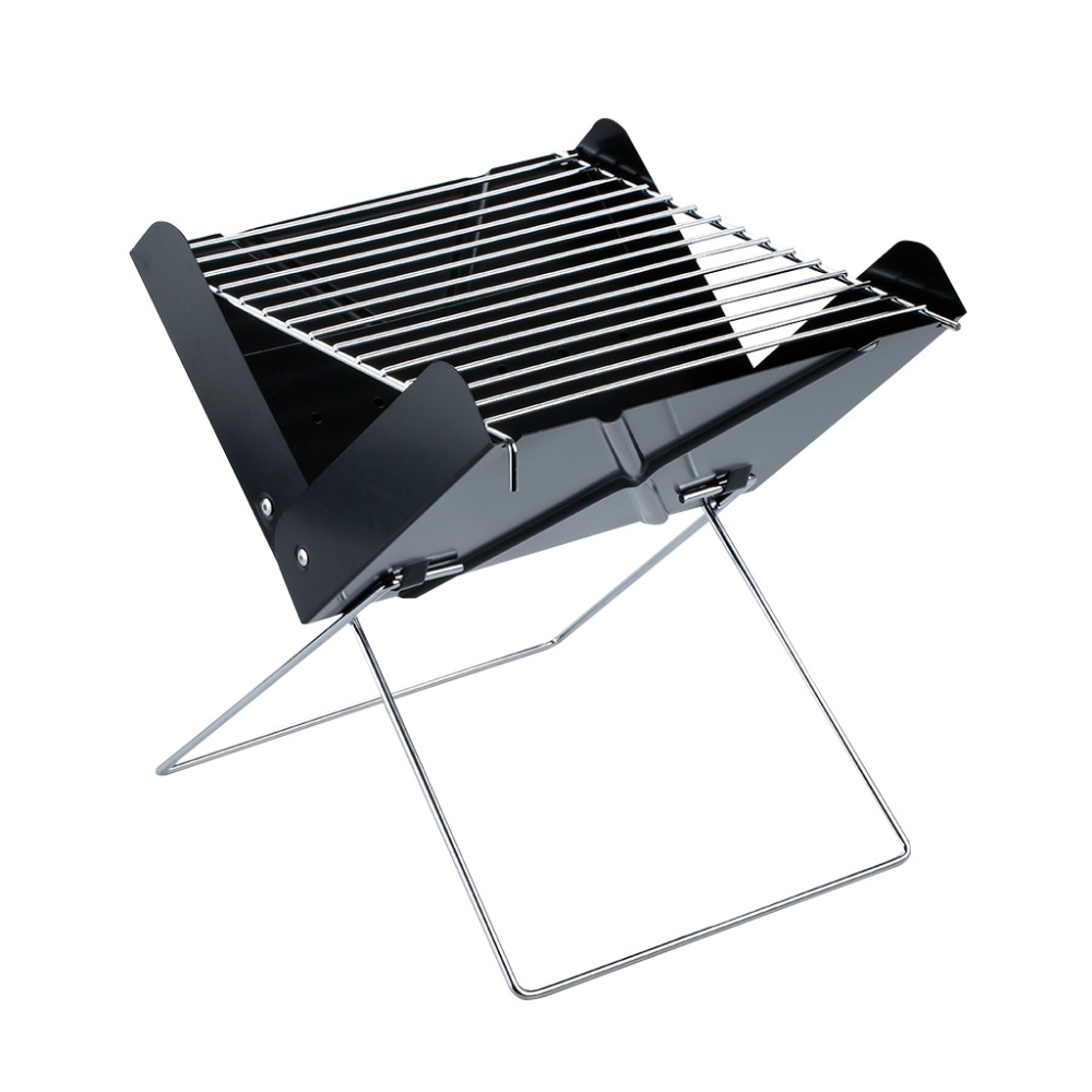 OUTU Portable Camping Charcoal BBQ Grill Outdoor Stainless Steel Folding for Barbecue Area Hiking Camping Picnic Black(China (Mainland))