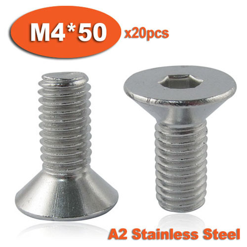 20pcs DIN7991 M4 x 50 A2 Stainless Steel Screw Hexagon Hex Socket Countersunk Head Cap Screws<br><br>Aliexpress