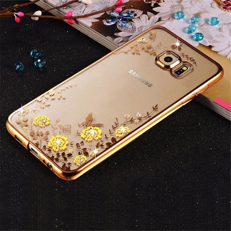Flower Plating Bling Rhinestone Diamond Case For Samsung Galaxy S7 G9300 / S7 edge G9350 Cases Slim Soft TPU Back Covers Case(China (Mainland))