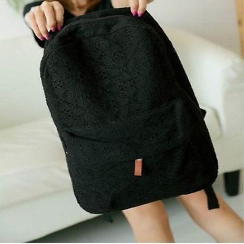 1Pc Fashion Girls Cute Lace Canvas Travel Backpack Best Selling(China (Mainland))