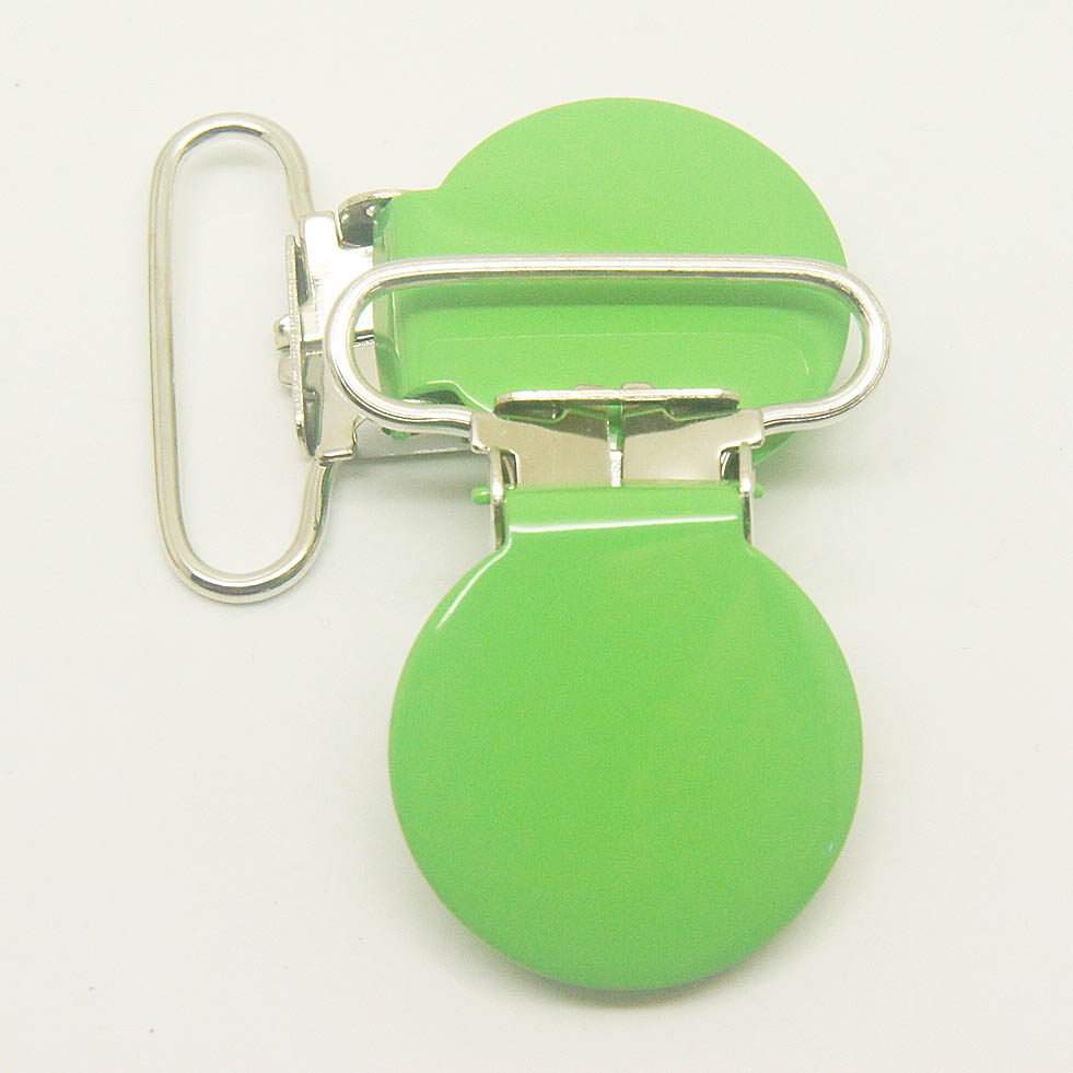 Hot selling 10,round top suspender clip apple green 25mm ribbon pacifier clips