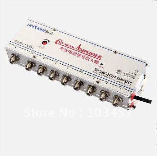 Free shipping, SB-1020K8, 8 way catv signal amplifer, Sat Cable TV Signal Amplifier Splitter Booster CATV, 20DB(China (Mainland))