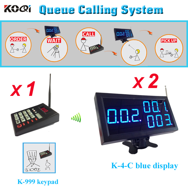 KFC Waiter paging call system wireless management equipment 1pc K-999 transmitter with 2pcs K-4-Cblue display receiver(China (Mainland))