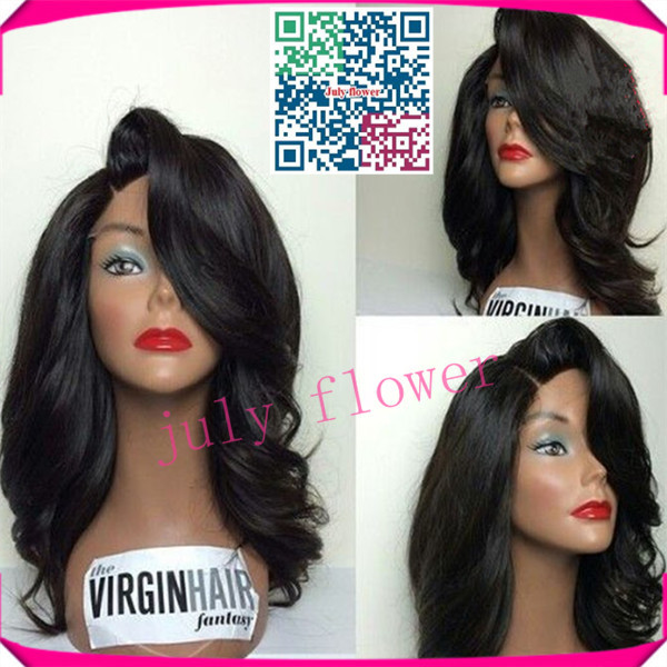 Lace Front Wavy Bob Wig With Bangs 2015 Fashion Style Virgin Brazilian Hair Body Wave Lace Front Wigs For Black Women Free Ship(China (Mainland))