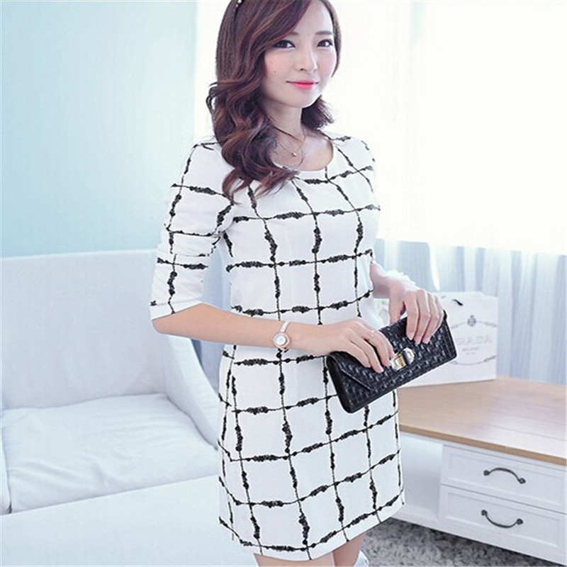 2016Spring Autumn Korean Latest Fashion Ladies Dress Plaid Long sleeved Sexy Short Dress Super Slim Casual