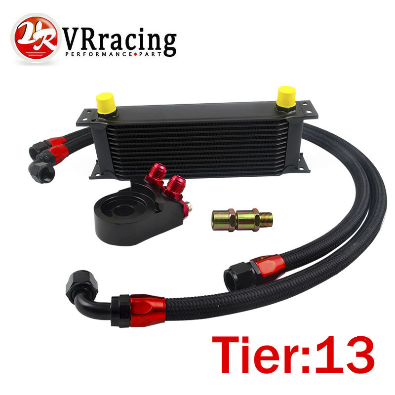 VR-Universal 13 ROWS OIL COOLER ENGINE +AN10 Oil Filter Cooler Sandwich Plate Adapter Black+2PCS NYLON BRAIDED HOSE LINE BLACK
