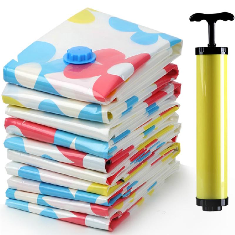 11pcs! Space Saving Storage Bags Vacuum Seal Hand Vacuum Pump Clothes Bedding Compressed Organizer Package Bag S/M/L(China (Mainland))