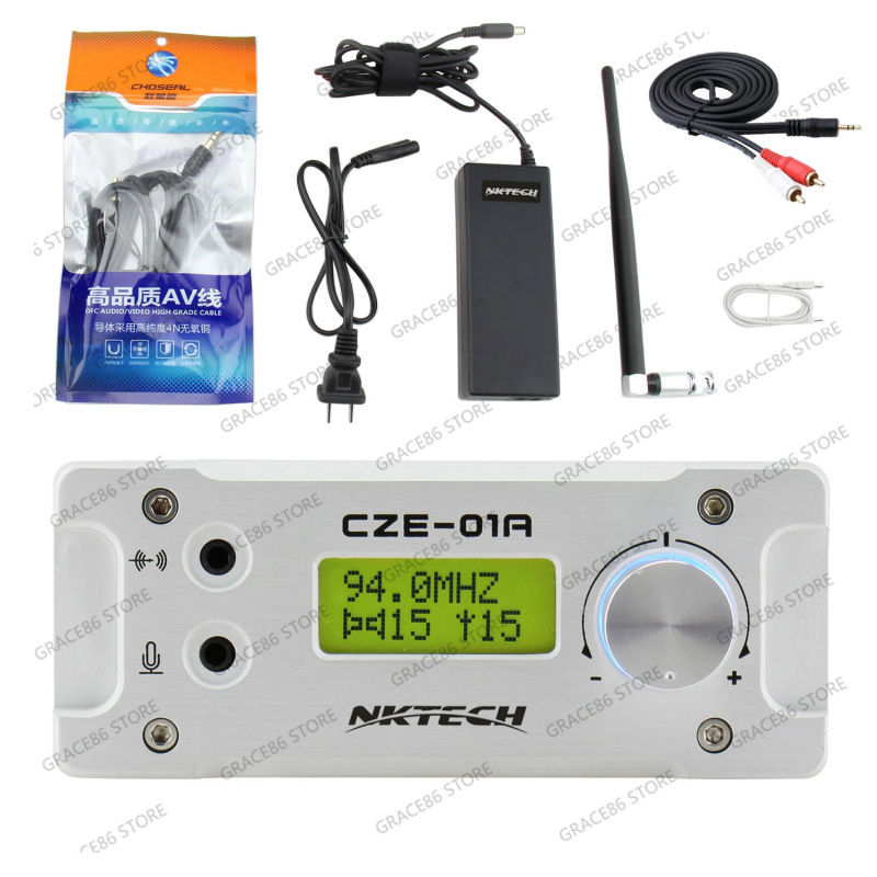 NKTECH CZE-01A Adj. 0~1W 76-108MHz Broadcast Station FM PLL Transmitter + AC Adapter + Antenna + Cable Support PC Contorl(China (Mainland))