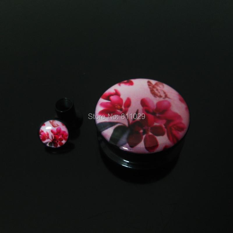 free shipping 100pcs mixed 10 gauges ear tunnels red flower logo print internally thread acrylic ear Flesh Tunnel Hot selling<br><br>Aliexpress
