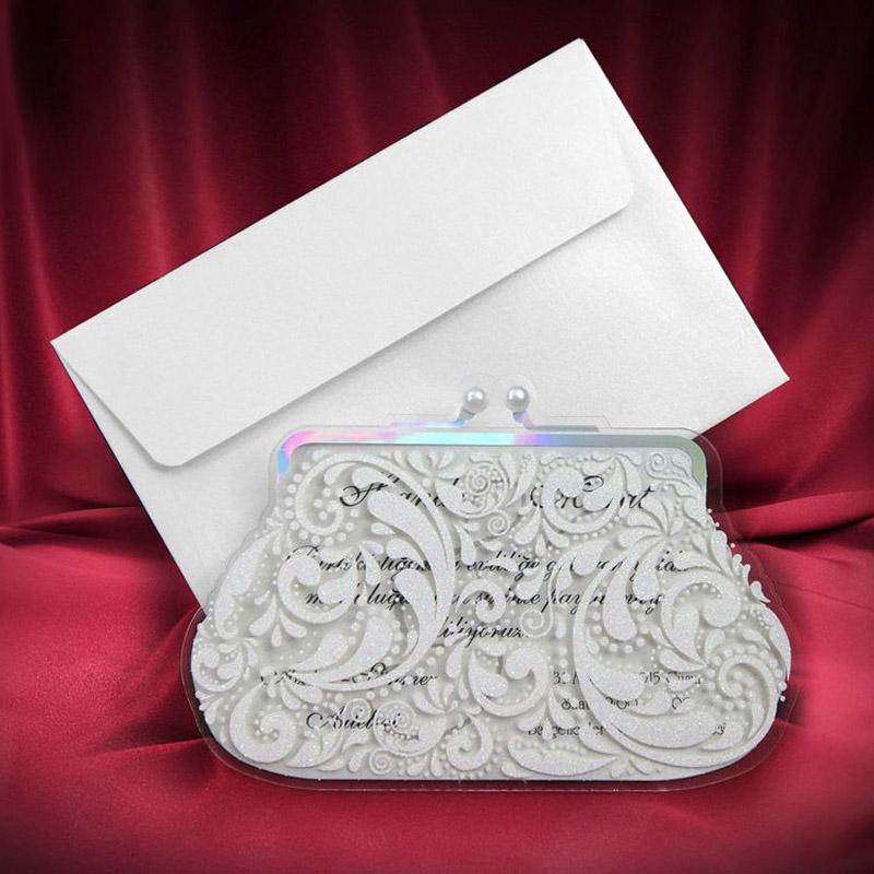 50 pcs/lot Bag Creative Exclusive Wedding/Bachelorette Party Invitation Cards Lace Elegant Luxury Cards Original Style(China (Mainland))