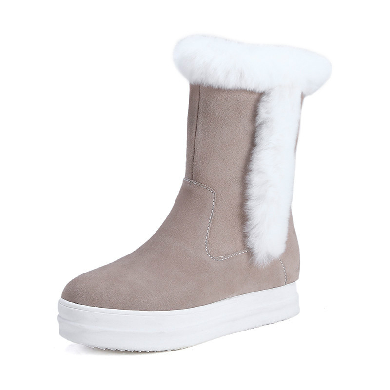 2015 Womans New Winter Cow Suede Snow Boots Frosted Rabbit Super Warm Tube Leather Boots<br><br>Aliexpress