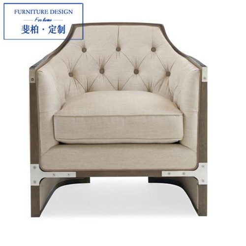 Feibo neo-classical post-modern living room furniture, custom solid wood single sofa fabric sofa lounge chair(China (Mainland))