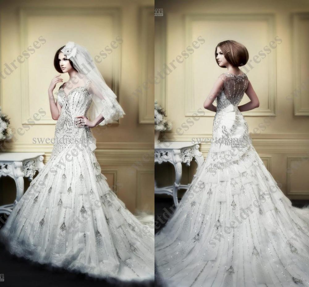 Luxury Vintage Corset Royal 2015 Limited Edition wedding dresses Bridal Gown Rhinestone Beaded Lace Chapel Train TK20(China (Mainland))