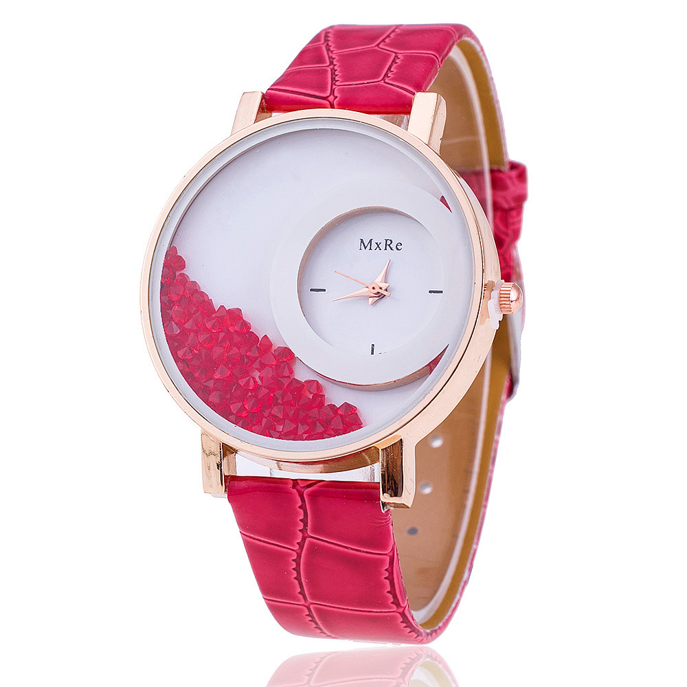 New Fashion Leather Strap Women Rhinestone Wrist Watch Casual Women Dress Watches Watched Hot Relogio Feminino