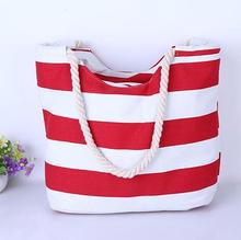 2016 New Canvas Handbag Personality Contracted Large Beach Bag Tote Shoulder Bag For Woman,Striped Canvas Handbags
