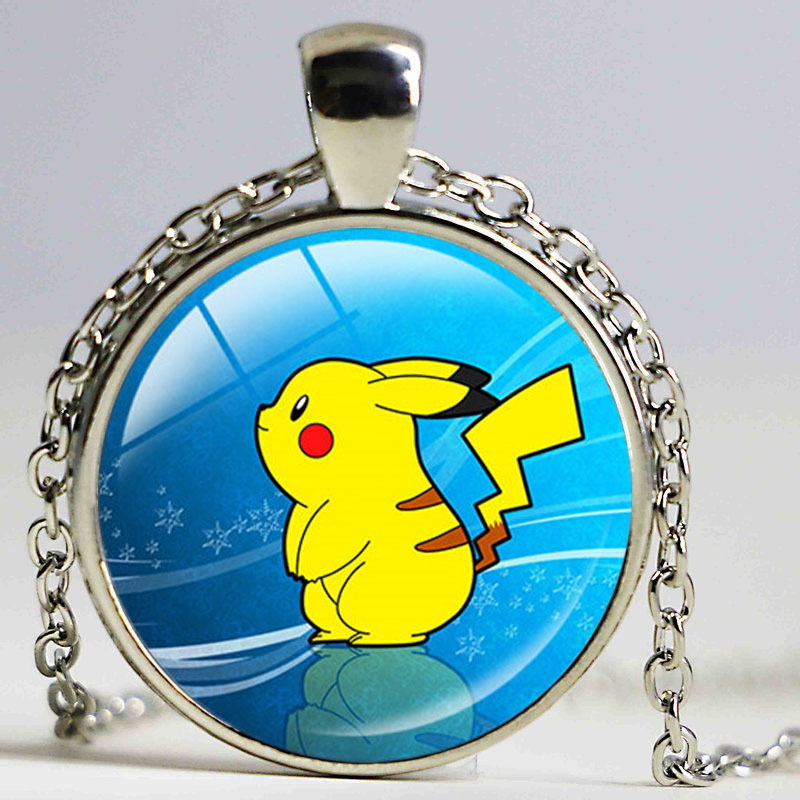 New arrival Pokemon Inspired necklace Glass pendant dome Cabochon Pendant Jewelry silver plated pendants pokemon charm jewelry(China (Mainland))