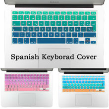 Rainbow Gradient Euro Spanish Silicone Keyboard Cover Stickers for MacBook Air 13 Pro 13 15 17 imac 21.5 27 Wireless keyboard(China (Mainland))