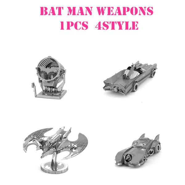 3D Metal Puzzles Batman car lights aircraft weapons Toys 3D Metal Model NANO Puzzles Chinses Metal Earth DIY Creative Gifts(China (Mainland))