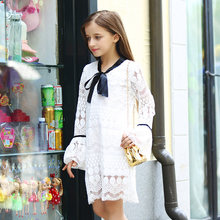 2016 Autumn Fall Latest Girls Dress White Cotto Crochet Birthday Party School Girl Age 56789 10 11 12 13 14T Years Old - Baby Shally's Shop store