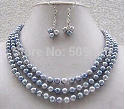 """free shipping >>>>Jewellery pretty vogue real gray pearl necklace earring set 17-19""""(China (Mainland))"""