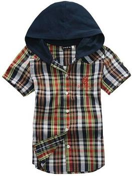 OK Freeshipping summer blue orange plaid children boy Kid baby casual short sleeve cotton hoody hooded shirt/T-shirt PEXS03P27