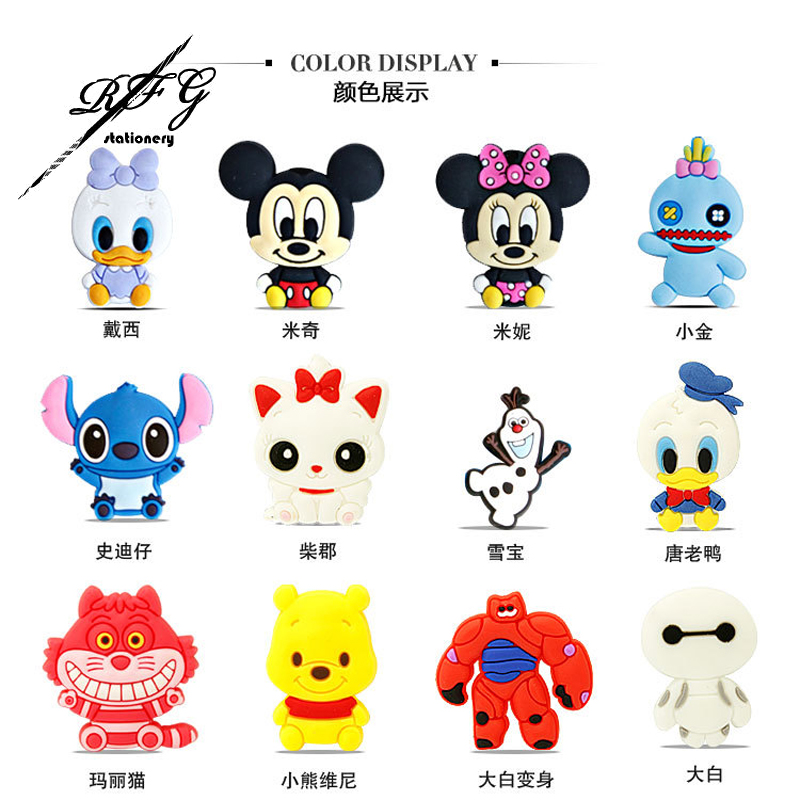 12Pcs Kawaii Big Hero 6 Paper Clip PVC Stitch Cheshire Paperclips Binder Clips de papel Pinzas Pince Cute Korean Stationery(China (Mainland))