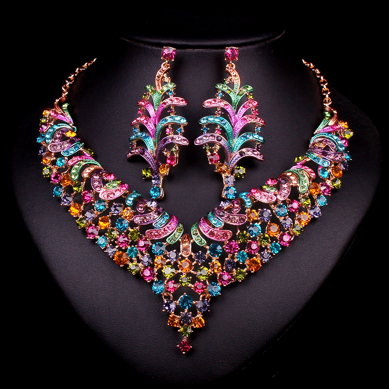 Fashion Bridal Jewelry Sets Wedding Necklace Earring For Brides Party Accessories Gold Plated Sapphire jewel Decoration Women(China (Mainland))