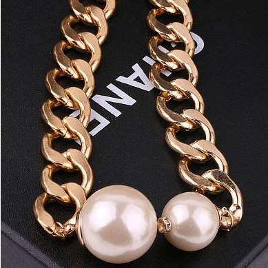 Vintage Gold Chunky Chain Two Big Pear Pendant Statement Choker Necklaces Women Jewelry 2015 Fashion Gift Wholesal F70(China (Mainland))