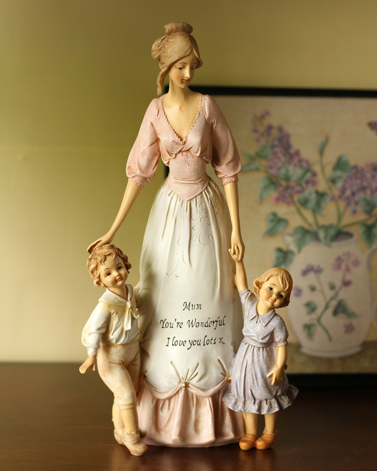 Warm-hearted Mother and Kids Sculpture Gift and Craft Ornament Accessories Embellishment for Home Decoration and Mother's Day(China (Mainland))