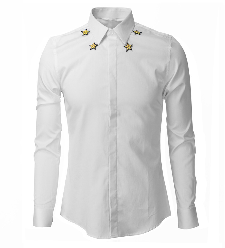 New Fashion Design Embroidery Little Star Tide Men Shirt Long Sleeve 2015 Spring Brand Slim Fit Black White Mens Dress ShirtsОдежда и ак�е��уары<br><br><br>Aliexpress