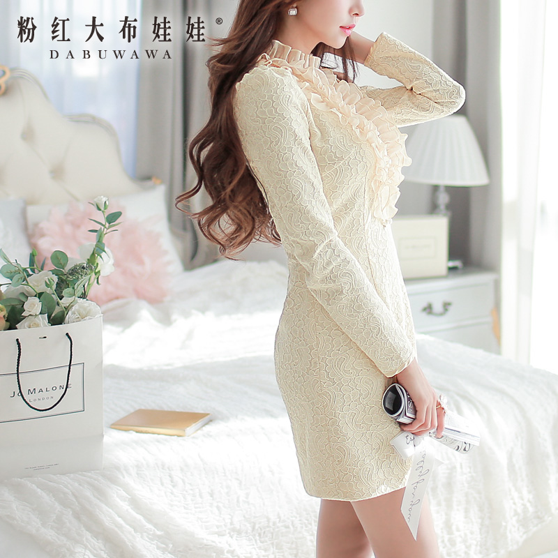 Long sleeved dress autumn Pink Doll 2014 winter dress A pendulum slim slim dress