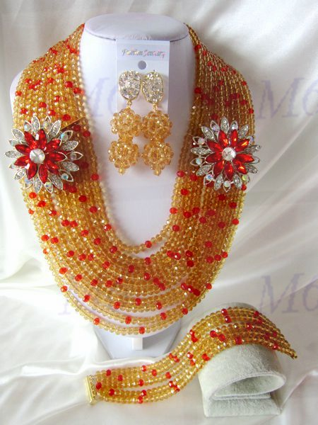 2015 Fashion african crystal beads necklace set nigerian wedding african beads jewelry set Free shipping P-1617<br><br>Aliexpress