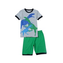 fashion new boys dinosaur pajamas kids animal printed pyjamas 2-7ages children clothing sets baby sleepwear - Golden childhood shop store