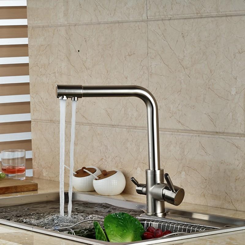 Купить Матовый Никель Двойной Выход Воды Кухня Раковина Кран Двойной Ручкой Чистой Воды Смесители На Бортике