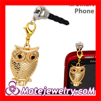 10 pcs/lot Free Shipping Wholesale Phone Accessory Crystal Mobile Phone Dust Plugs With Lobster Clasp Owl Charm Cheap ,EC1142-2(China (Mainland))