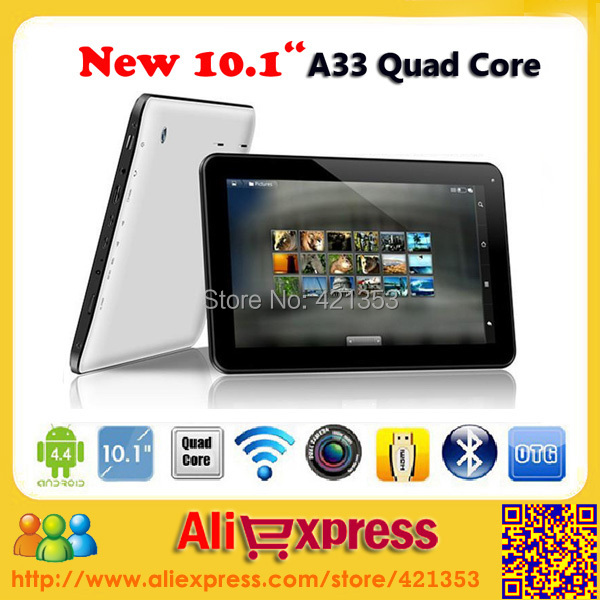 "100pcs/lot DHL FREE 10.1"" Cheap Tablet PC Allwinner A33 Quad Core Android 4.4 1GB RAM 8GB/16GB ROM Dual Camera Bluetooth+Gift(China (Mainland))"