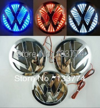 New Blue 3D LED Car Volkswagen Decal Logo Light Badge Lamp Emblem Sticker for vw Free Shipping(China (Mainland))