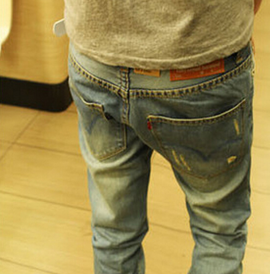 new Designer Jeans Men Character Ripped Holes Jean Casual Men's Long Jeans Pants Large Size Quality Jean Pants(China (Mainland))