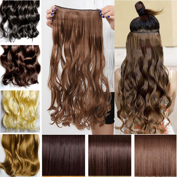 """Maga Long NEW 29"""" Curly Wavy 3/4 Full Head Clip in Hair Extensions Extension 100% Real Thick Hairpiece human favored hair(China (Mainland))"""