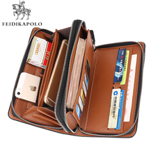 Business Men Long Wallet Designer Double Zipper Leather Male Purse Brand Mens Clutch Handy Bag Luxury Wallets carteira Masculina(China (Mainland))